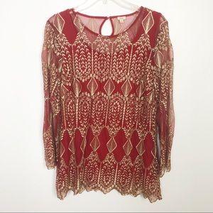 Reba Embroidered Sheer Long Sleeve Top Red Medium